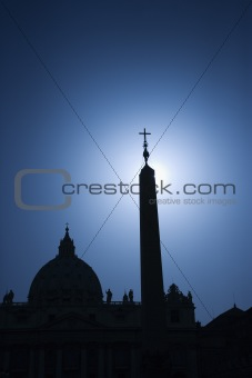 Church silhouette in Rome, Italy.