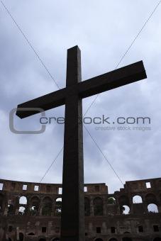 Cross inside the Coliseum in Rome, Italy.