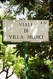 Sign for Viale di Villa Medici in Rome, Italy.