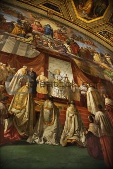 Fresco in the Vatican Museum, Rome, Italy.