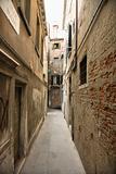 Alleyway between buildings in Venice, Italy.