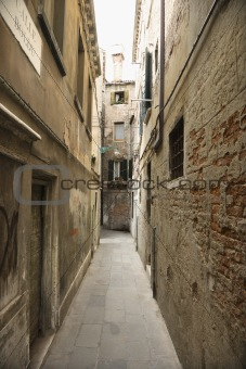 Alleyway between buildings in Venice, Italy.