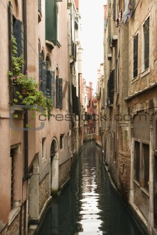 Canal with buildings in Venice, Italy.