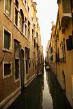 Canal in residential Venice, Italy.