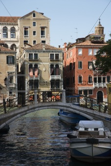 Bridge over canal in Venice, Italy.