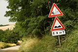 Road sign warnings, Tuscany.