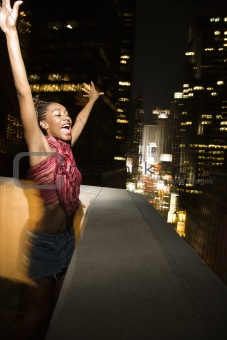 Young sexy woman in New York City, New York at night.