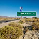 Road sign in desert.