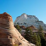 Two rock formations in Zion National Park, Utah.