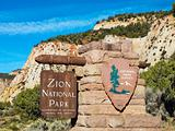 Zion National Park sign.