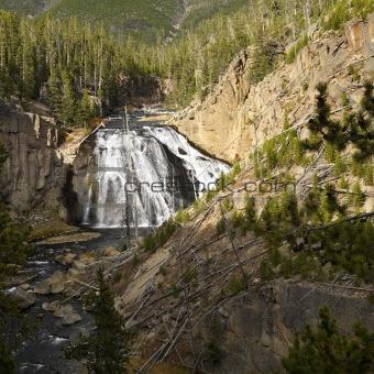 Waterfall in Yellowstone National Park, Wyoming.