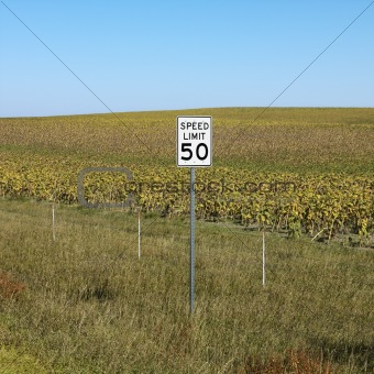Rural speed limit sign.