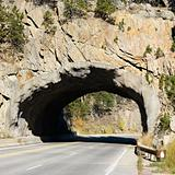 Tunnel going through rocks in South Dakota.