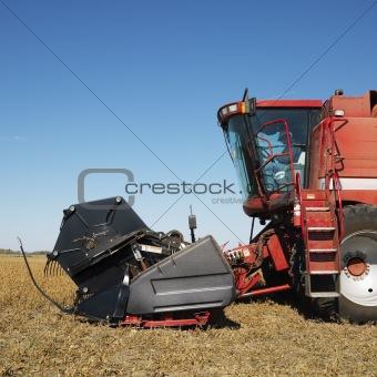 Combine harvesting soybean field.