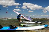 windsurfer ready to start