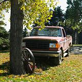 Old pick-up truck parked in yard.