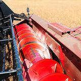 Combine harvesting soybeans.