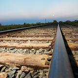 Low angle of railroad tracks.