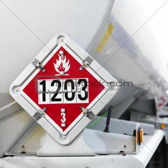Flammable warning sign on tanker.