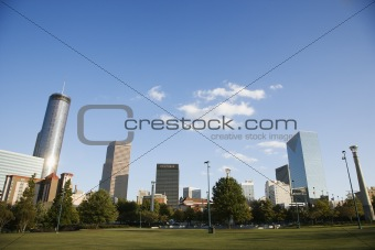 Skyline behind Centennial Olympic Park in downtown Atlanta, Geor
