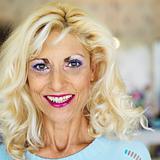 Portrait of blonde woman.