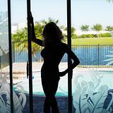 Silhouette of woman in underwear.