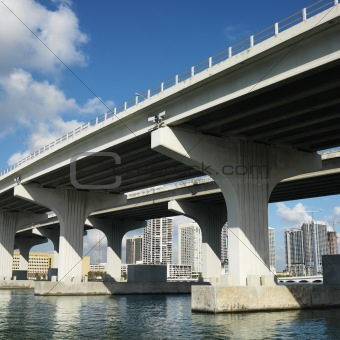Bridge over Biscayne Bay in Miami, Florida, USA.