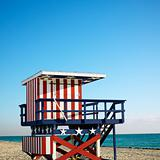 Lifeguard tower in Miami, Florida, USA.