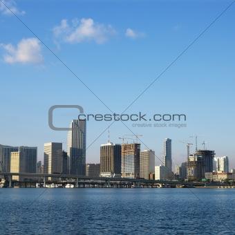 Waterfront skyline of Miami, Florida, USA.
