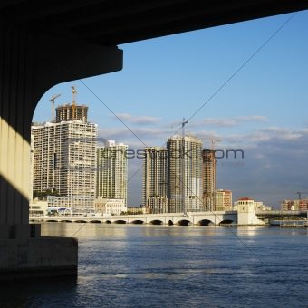 Waterfront skyline with bridge in Miami, Florida, USA.