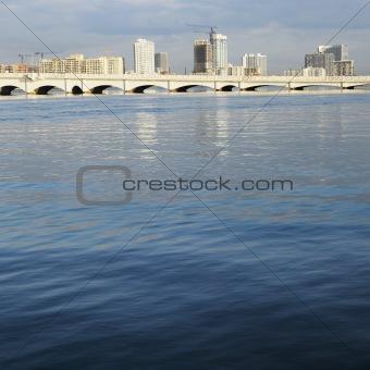 Waterfront skyline with bridge in Miami, Florida, USA.