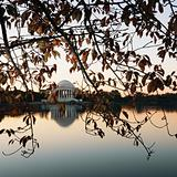 Jefferson Memorial reflected in water in Washington, D.C., USA.