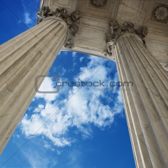 Sky and columns of Supreme Court building in Washington D.C.