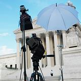 TV production set in front of Supreme Court building with in Was