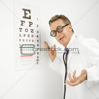 Doctor wearing eyeglasses making gesture.