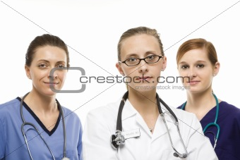 Caucasian women medical healthcare workers.
