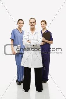Caucasian women healthcare workers.