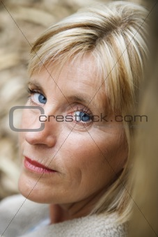 Head shot of Caucasian woman.