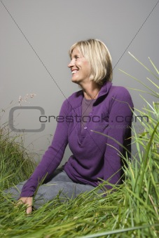 Caucasian woman in field.