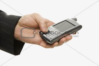 Caucasian businessman using PDA.