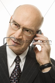 Caucasian businessman on cellphone.