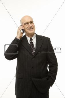 Caucasian businessman on cellphone.