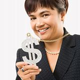 Businesswoman wearing dollar sign.