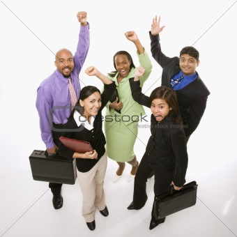 Business people cheering holding briefcases.