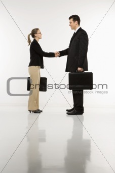 Businessman and woman shaking hands.