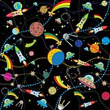 similar black space background with rockets and planets