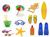 summer beach icons