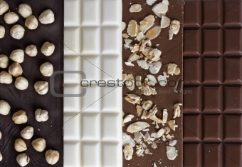 Close up of high quality handmade chocolate bars