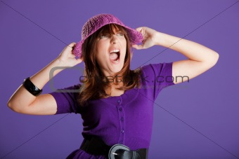 Beautiful woman yelling