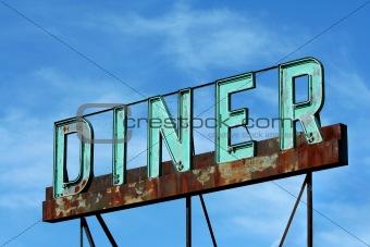 Abandoned roadside diner sign